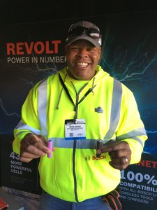Bosch's Theron Sherrod demonstrates the difference in battery cells as he explains the benefits of the company's new CORE 18V Battery.