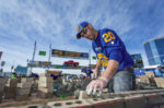 Shown is Matt Cash in action. Cash laid 716 brick to win the 2017 SPEC MIX BRICKLAYER 500 World Championship.