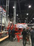 EZ Scaffold had a busy display that allowed booth visitors to take a ride.