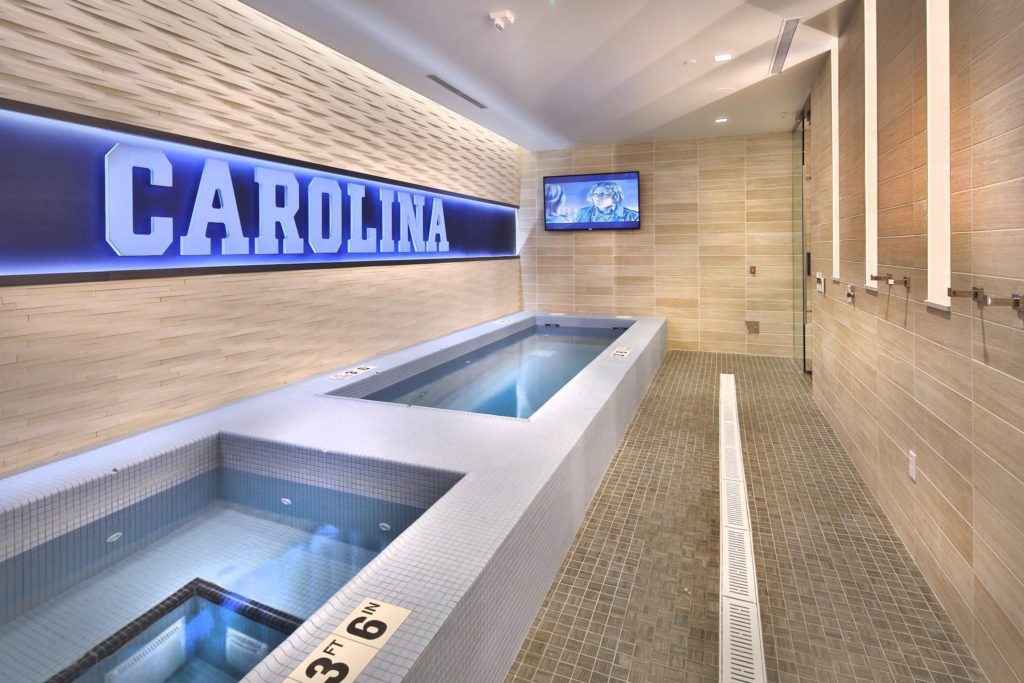 The hot and cold spa pools were installed with LATICRETE HYDRO BAN, 3701 Fortified Mortar and 254 Platinum, SPECTRALOCK Grout and LATASIL caulk. The stone on the walls over the spas was installed with LATICRETE 4-XLT. Photo by Jim Sink Photography